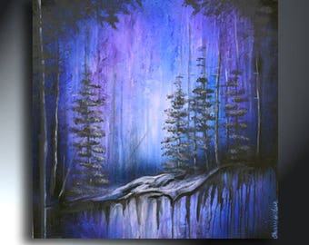 Abstract Landscape Painting Original Artwork Size 25 x 25 Blue Purple Black Textured Artwork