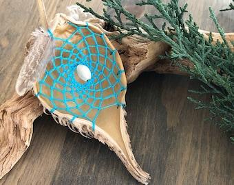 Turquoise milkweed seed pod dream catcher