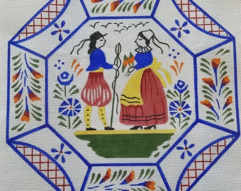 ON SALE**Half Price - Hand Painted Needlepoint Canvas. Dutch Folk Art by Needle House