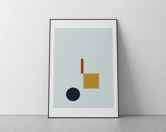 Blue and Gold Shapes Contemporary Geometric Print A3