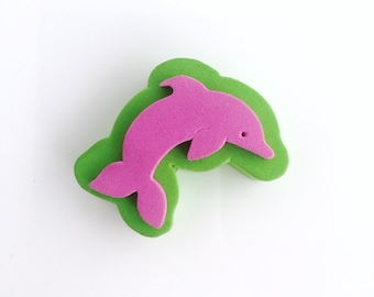 """Dolphin Foam Stamp - 1.75"""" x 0.75"""" - Dolphin Block Stamp - Party Invitation Stamp"""