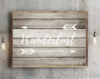 Wanderlust A4, Printable download nursery decor, Woodland Nursery Decor, Nursery art, Wood Sign, Hand-Lettered, typography, hand written,