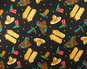 Western Fabric, Vintage, Cowboy, Boots, Hats, Red, Gold, Black, 1 YARD