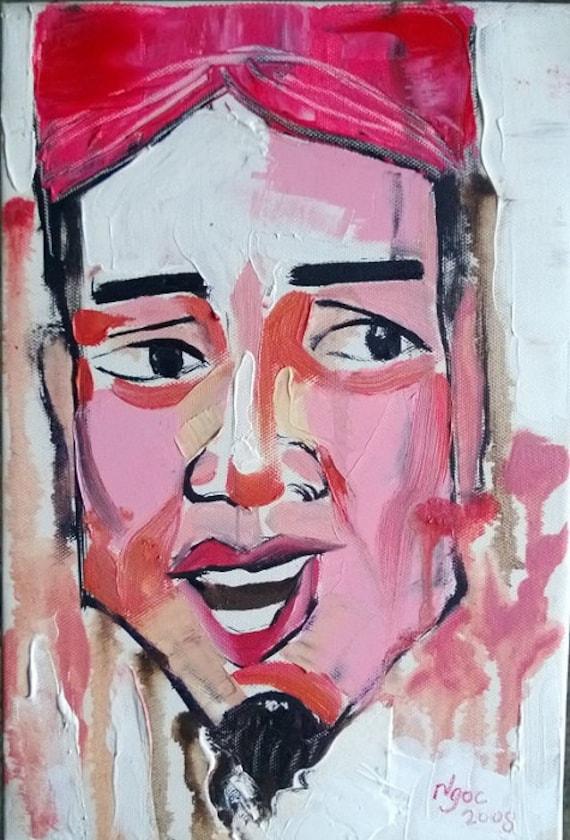 "CHEO 8x12"" oil on canvas, Vietnam Folk Opera (Hát Chèo), original by Nguyen Ly Phuong Ngoc"