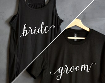 Bride & Groom Shirt Package, Bride tank top, Groom shirt, Wedding shirts, wedding gift, bridal party shirts, honeymoon shirts, Hubs, Wifey