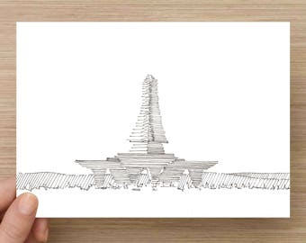 Temple Architectural Art - Art, Drawing, Print, Sketch, 5x7, 8x10., Pen and Ink, Architecture, Ink, Sketchbook, Design, Wood, Line Drawing