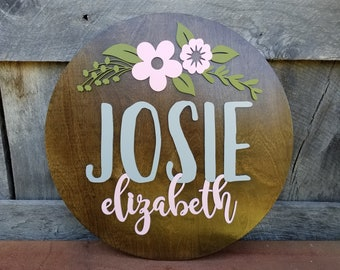 Floral Round Name Sign - Name Round - Wooden Name Sign - Round Name Sign - Nursery Name Plaque