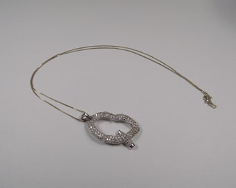 Sterling silver lips pendant with cz's and 18 inch sterling silver necklace