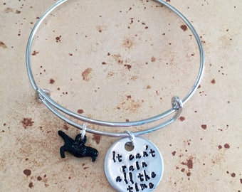 It can't rain all the time - Hand Stamped Bangle, Necklace or Keyring