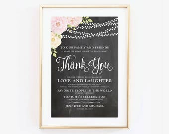 Thank You Wedding Sign Thank You Sign Reception Sign Ceremony Sign Thank You Wedding Poster Canvas or Large Art Print #CL170