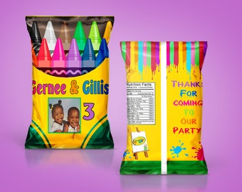 Crayola Crayon Party - DIY PDF Template - Art Party - Chip Bag - Juice Labels - Custom Party Favors - Art Birthday - Crayola Birthday