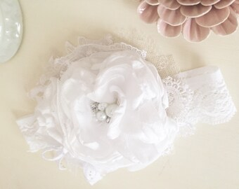 Baby Girl headband- Well Dressed Wolf -Flower Girl Headband- White Headband- Baby Headband-Baptism headbands-Couture headband
