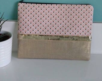 """Large pouch """"pink"""" pink and gold linen"""