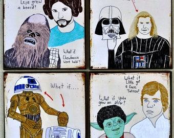 Star Wars Coasters- Chewbacca, Yoda, Darth Vader, C-3PO, R2-D2, Luke Skywalker, Princess Leia, Film Buff, Coasters, Gift, Home Decor