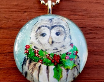 Owl with Christmas Wreath   Glass Tile Pendant