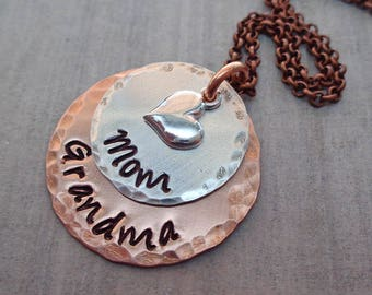 Mom Grandma Necklace - Mothers Day Gift - Grandma Necklace - Mom Grandma Gift- Mom Grandma Jewelry -Grandma Gift- Mixed Metal Jewelry-S230