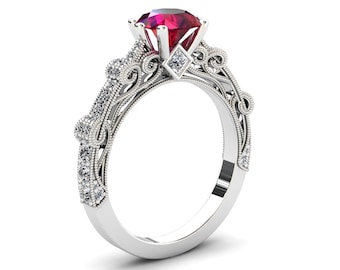 Ruby Engagement Ring 1.50 Carat Ruby And Diamond Ring In 14k or 18k White Gold. Style Number CF1RUBYW
