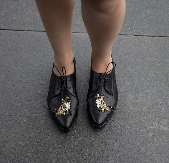 Shoes Shoes Tie Pointed Women Made Custom Flat Black With Shoes Flat Shoes Toe Shoes Gold Handmade Fox Oxford Black qZxqzv7