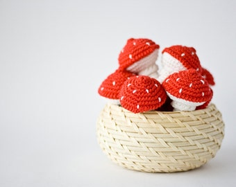 Amanita Crochet Rattle Toy (1 pc) - Baby Rattle, Toy for Toddler, Gift for Baby, Sensory Toy, Eco-Friendly - FrejaToys