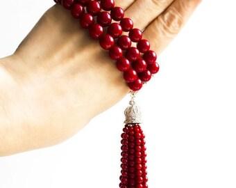 """Red coral tassel bracelet """"GLORIOUS SUMMER"""""""