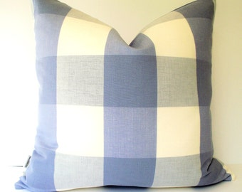 Blue Check Pillow Cover Blue Buffalo Check Blue Gingham Periwinkle Pillow 0