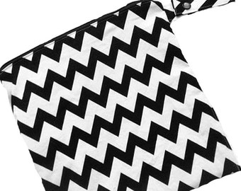 Chevron Black and White - 10x10 Sweet Bobbins Wet Bag - SEAM SEALED - Snap Strap