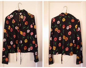 Black & Floral Print 1970s Long Sleeve Polyester Blouse Colorful Pansies