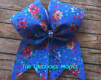 Cheer Bow, Flower Cheer Bow, Blue Flower Cheer Bow, Flower Hair Bow, Cheerleading Bow