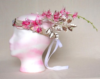 Pink Orchid Princess Headdress Crown