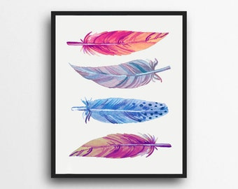 Watercolor Feather Print   Feather Art   Feather Wall art   Tribal Decor   Woodland Decor   Digital Download