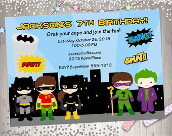 Batman vs villains Birthday Invitation Invite Batman and Villains superhero birthday party printable invitation