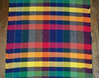 Handwoven Rag Rug - Bright Multi w/ Black  (Inv. ID#04-0181)