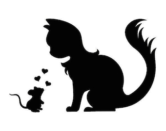 Crazy Cat Love with a Mouse Vinyl Decal Sticker