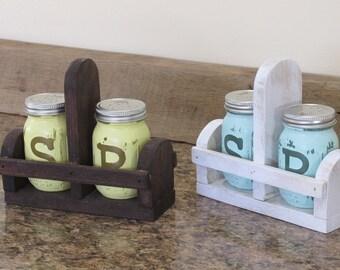 Mason Jar Salt and Pepper, Salt and Pepper Shakers, Mason Jar Kitchen Set, Canister Set, Rustic Mason Jar Décor Hand Painted Salt Cellar