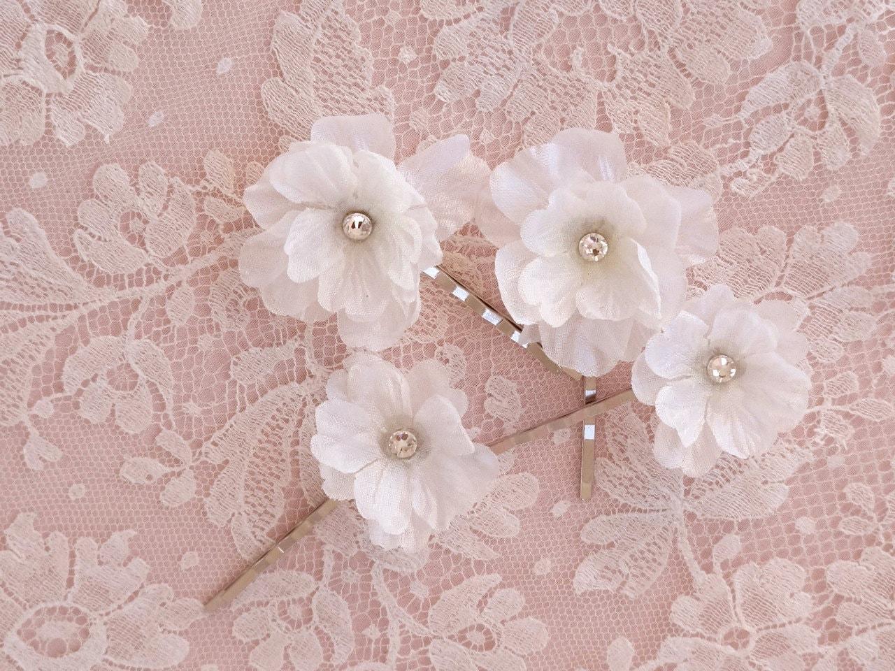 White Flower Hair Pins Hair Flower Wedding White Hair Clip