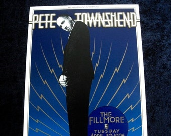 Original Printing  Pete Townsend Concert Poster San Francisco Fillmore Auditorium Randy Tuten NM THE WHO
