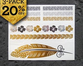 Metallic Tattoos, Pack SUMMER 20% Off, 3 sheets TATTOOS, METALLIC Temporary Tattoos, Bracelets Gold Tattoos, Geometric boho tattoos
