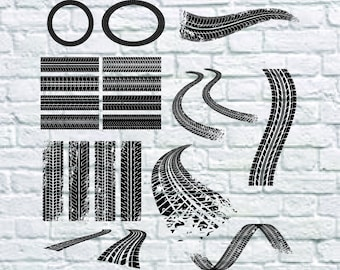 20 Tire Tracks Svg Bundle, Motorcycle Tire Svg, Car Tire Svg file For Print, Cricut, Cutting ... etc, Files Download Svg, Dxf, Png, Eps.