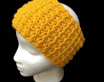 Mustard Crochet Ear Warmer, Mustard Yellow Headband, Crochet Ear Warmers, Ear Warmer Crochet, Knit Ear Warmer, Women's Ear Warmer, Winter