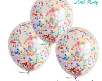 3 x Confetti Balloons Rainbow Party Colourful Polka Dot Birthday Party Decoration