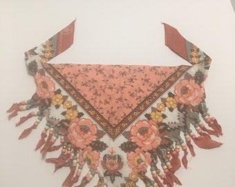 Boho Fringe Beaded Handkerchief