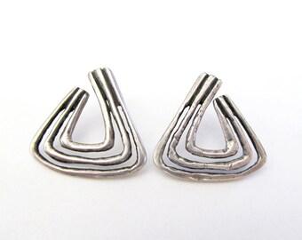 Vintage Modernist Silver Earrings, Sterling Silver Earrings, Abstract Triangle Earrings, Post Earrings, Earthy Organic Avant Garde Jewelry