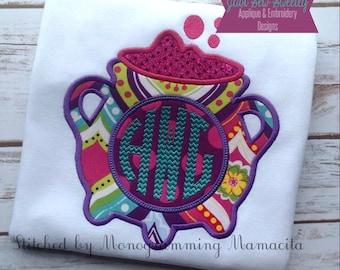 Witch's Caldron Halloween Monogram Applique Design - Embroidery Machine Pattern Bubble Bubble Toil and Trouble