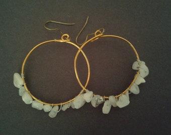 Moonstone Earrings | Hoop Earrings | Gold Earrings | Moonstone Chip | Boho | Summer