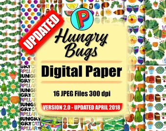Hungry Bugs - Digital Paper Clipart - 16 jpeg files 12x12 inches 300 dpi - Instant Download - Updated April 2018