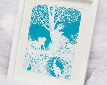 Alice in wonderland framed paper cut
