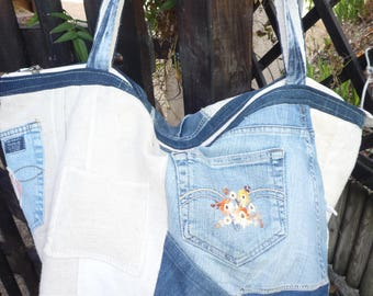 XXL jeans patchwork of linen and jute tote bag