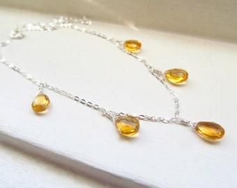 Citrine necklace November birthstone golden briolettes silver gold simple delicate