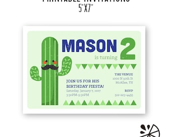 Cactus Fiesta Theme Party Invitations CUSTOM PRINTABLES