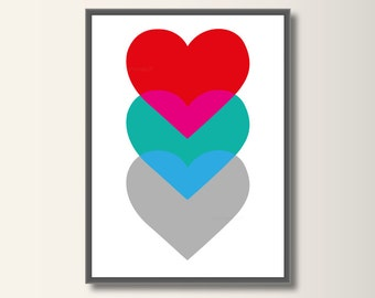 Heart, Art Print, Art Print, Heart Poster, Nursery Art, Minimalist Print, Minimal Print